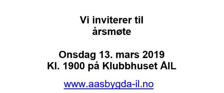 Årsmøte Åsbygda IL onsdag 13.mars 2019, klokken 19.00